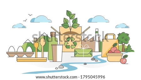 Green packaging using natural eco paper bags and wrapping material outline concept. Organic renewable cardboard product container and biological plastic vector illustration. Sustainable pack solution.