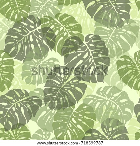 Green palm leaves silhouette. Vector seamless pattern with tropical plants. floral background. Fashion jungle illustration. Wallpaper, cloth design, fabric, tissue, cover, textile template.