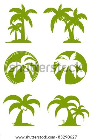 Green Palm tree set