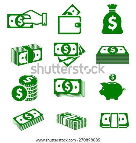 Green paper money and coins icons isolated on white background for business and commerce design