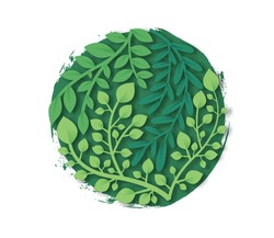 Green papercut leaf with handmade paint circle on isolated background for eco friendly or environment help concept. 3D paper cut plant leaves round frame set.