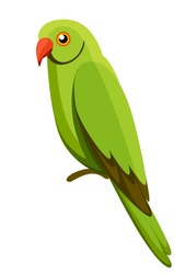 Green parrot bird. Parrot on branch posters, children books illustrating. Tropical bird cartoon style. Isolated on white background.