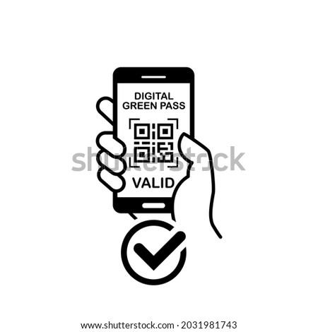 Green Pass on smartphone in hand. Quarantine measures against coronavirus. Vector on transparent background Stock foto ©