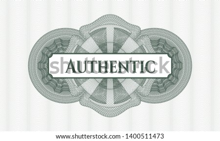 Green passport money rosette with text Authentic inside