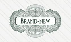Green passport money rosette with text Brand-new inside