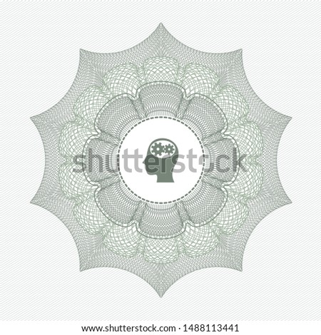Green passport money style rosette with head with gears inside icon inside
