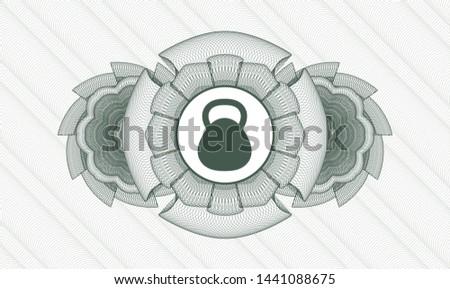 Green passport money style rosette with kettlebell icon inside