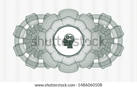 Green passport style rosette with head with gears inside icon inside