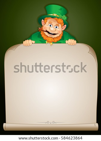 green patrick with paper scroll