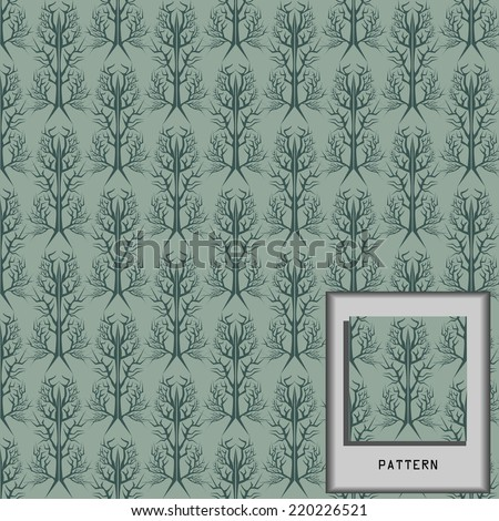 Green Pattern damask and branch wallpaper for interior