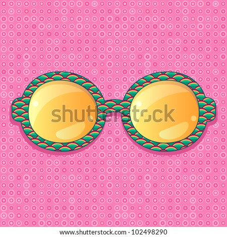 Green Pattern Frame with Orange Shiny Glasses. Vector Accessory Illustration