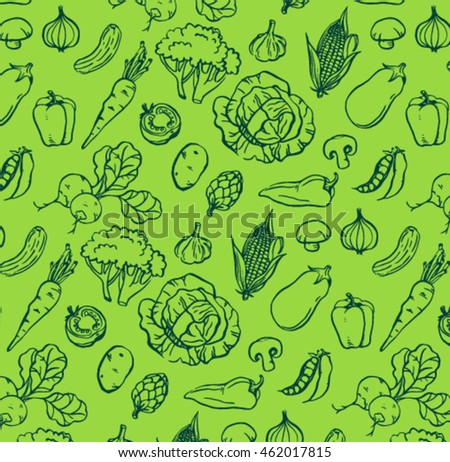 green pattern of hand drawn
