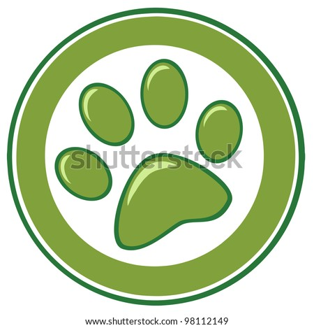 Green Paw Print Banner. Vector Illustration