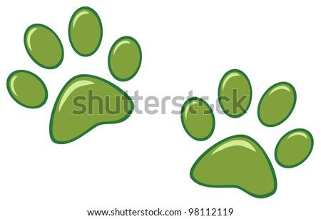 Green Paw Prints. Vector Illustration