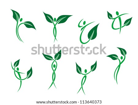 Green peoples with leaves as environment and ecology symbols, also a logo idea. Jpeg version also available in gallery