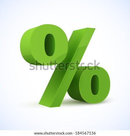 Green percent sign. Vector illustration.