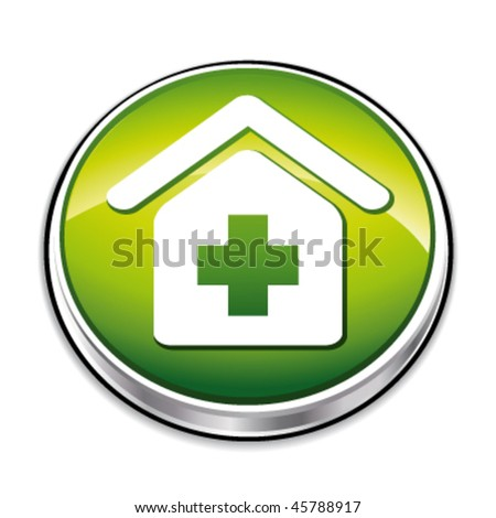 Green pharmacy, clinic, hospital, recovery icon. Vector illustration.