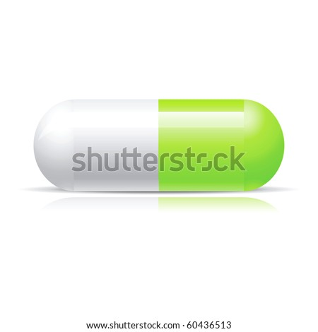 Green pill isolated on white
