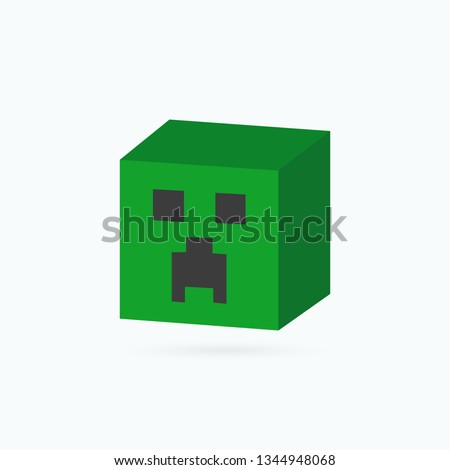 green pixel zombie head on a