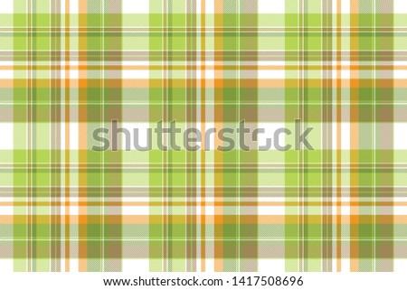 Green plaid fabric texture seamless pattern. Flat design. Vector illustration.