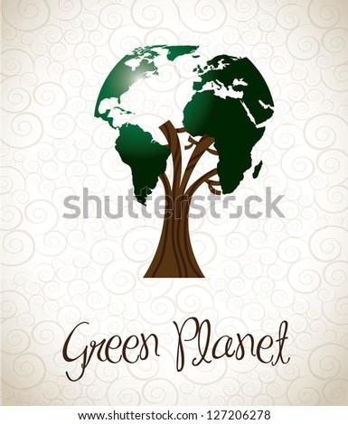green planet over vintage...