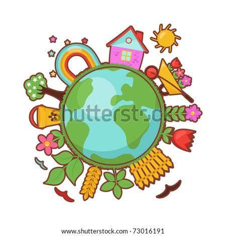 Green planet, spring illustration