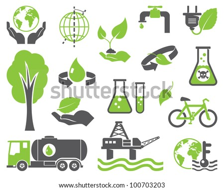 Green planet symbols, ecology concept