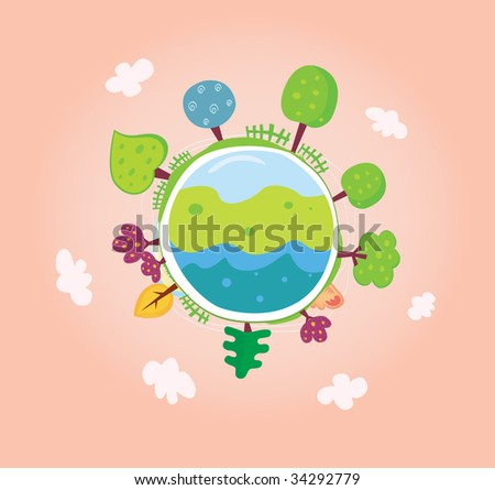 Green planet. We are going to rescue our planet! More trees everywhere. Green globe, VECTOR.