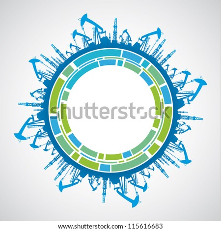 Green planet with sphere industrial abstraction. Vector illustration.