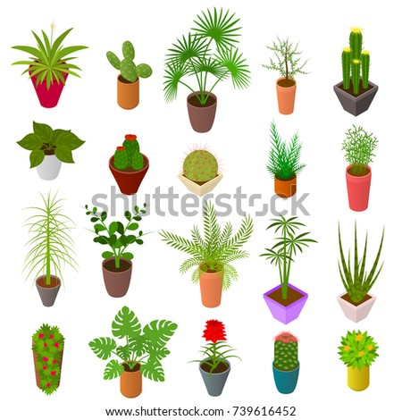green plants in pot set icons