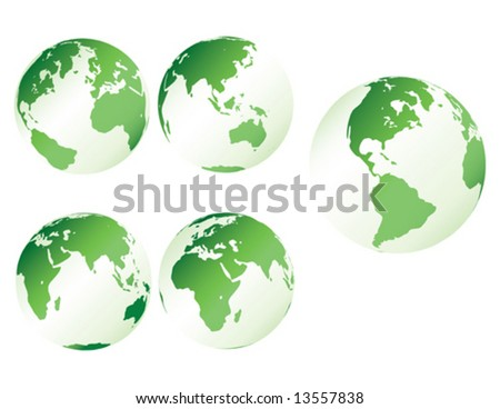 Green plastic earth - multiple views of the earth with plastic shading