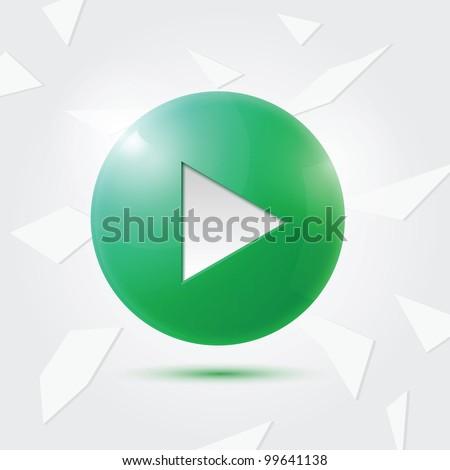 Green Play button - stock vector