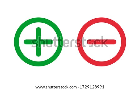 green plus and red minus symbols, round thin line vector signs Stockfoto ©