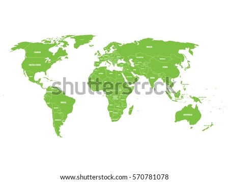 Vector World Map With Country Labels Stock Vector