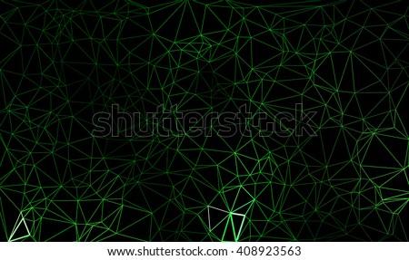 green polygon line on black