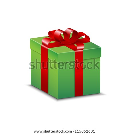 Green present with shiny red bow, isolated on white. - stock vector