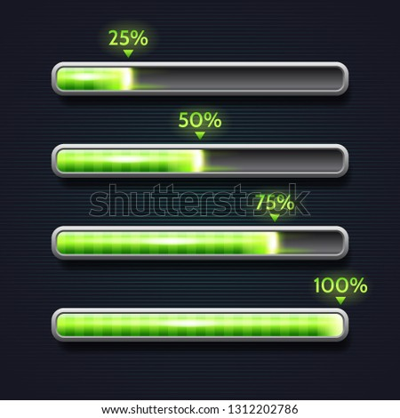 Green progress bar, loading, template for app interface, indicator, vector illustration