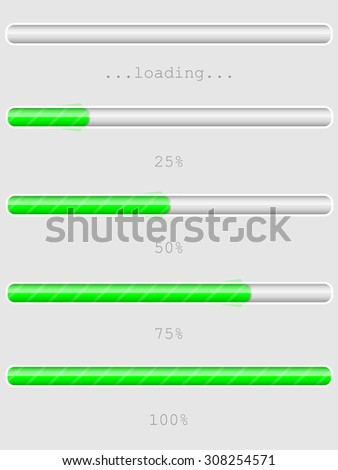 Green progress, loading or download/upload bars, empty, 25 %, 50 %, 75 %, 100 %