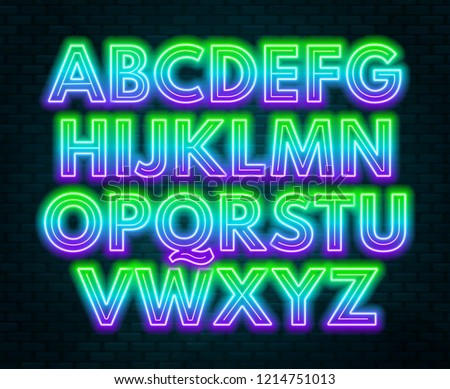 stock-vector-green-purple-gradient-neon-alphabet-on-a-dark-background-bright-font-for-decoration-capital