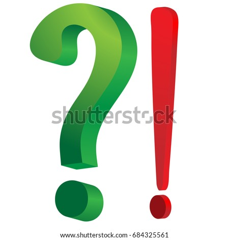 Green question mark and red exclamation mark ; Vector illustration
