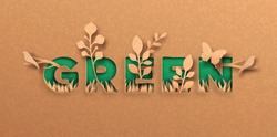 Green quote papercut illustration with plant leaf and wild animals. Eco friendly text label, environment help concept. 3d cutout in recycled paper background for ecology campaign.