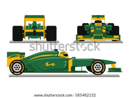 Green Racing car ready for race