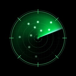 Green radar isolated on dark background. Military search system. HUD radar display. Vector illustration