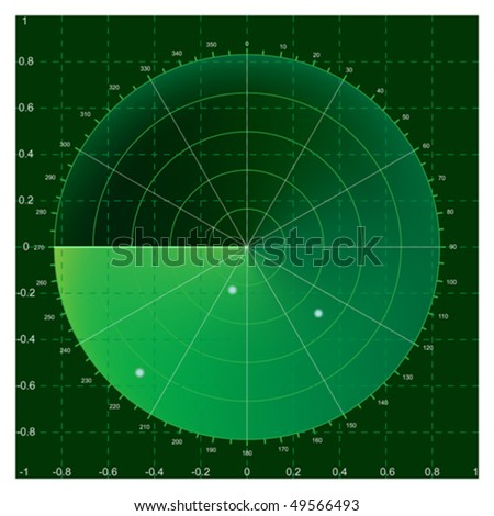 Green radar screen, vector illustration AI8 compatible, mesh gradient used