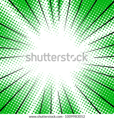 green radial motion lines halftone for manga superhero