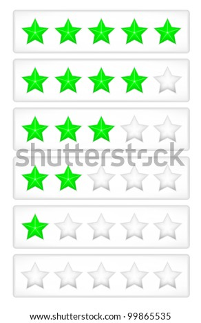 Green rating stars on the grey button vector