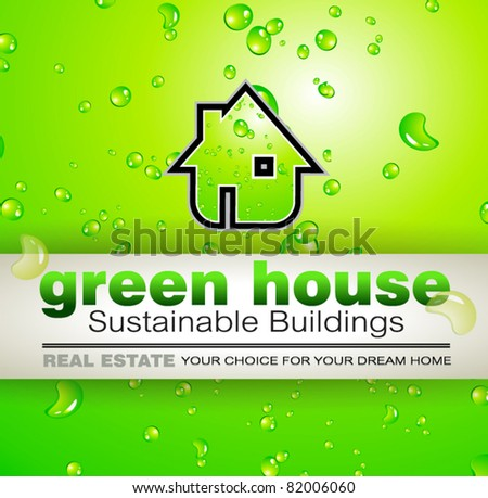 Green Real Estate water drops background for advertising of available bio houses or eco buildings for sale. Shadow is transparent.