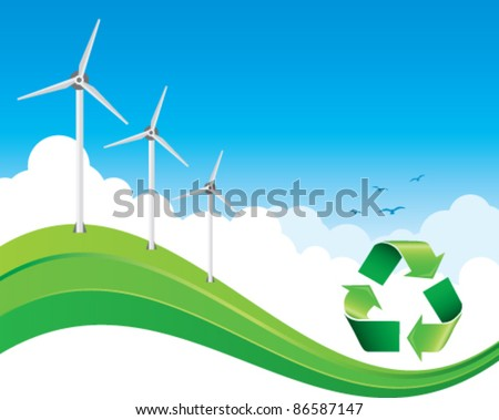 green recycle banner with windmills