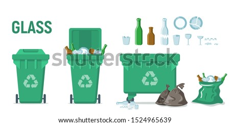 Green recycle garbage bin for glass set. For banner, flyer. Separation of waste cans for recycling, reuse, reduce. Throw away the glass in correct trash can. Bottles, plates, glassful,  splinters