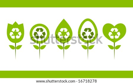 Green recycle logo designs.